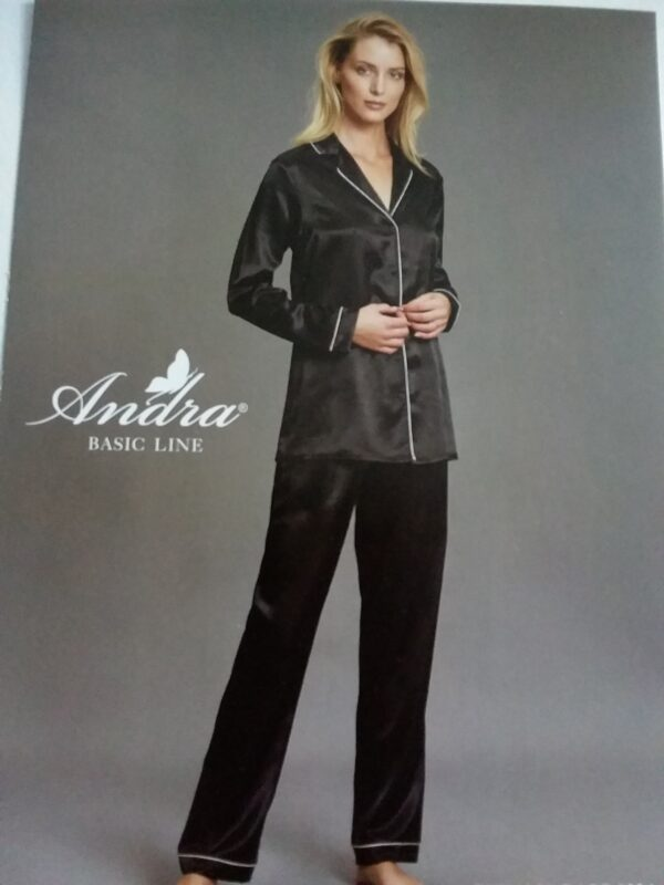 Pigiama donna in raso nero ANDRA lingerie - Black & White Gubbio