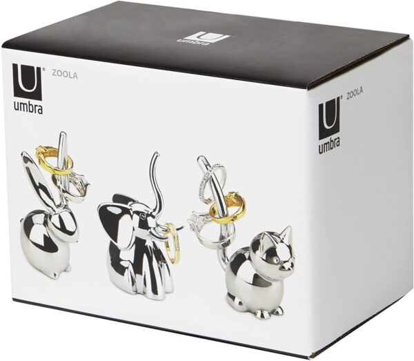 UMBRA ZOOLA PORTA ANELLI METALLO CROMATO IN BOX CON SET 3 ANIMALI INCLUSI - Volpotti Gubbio