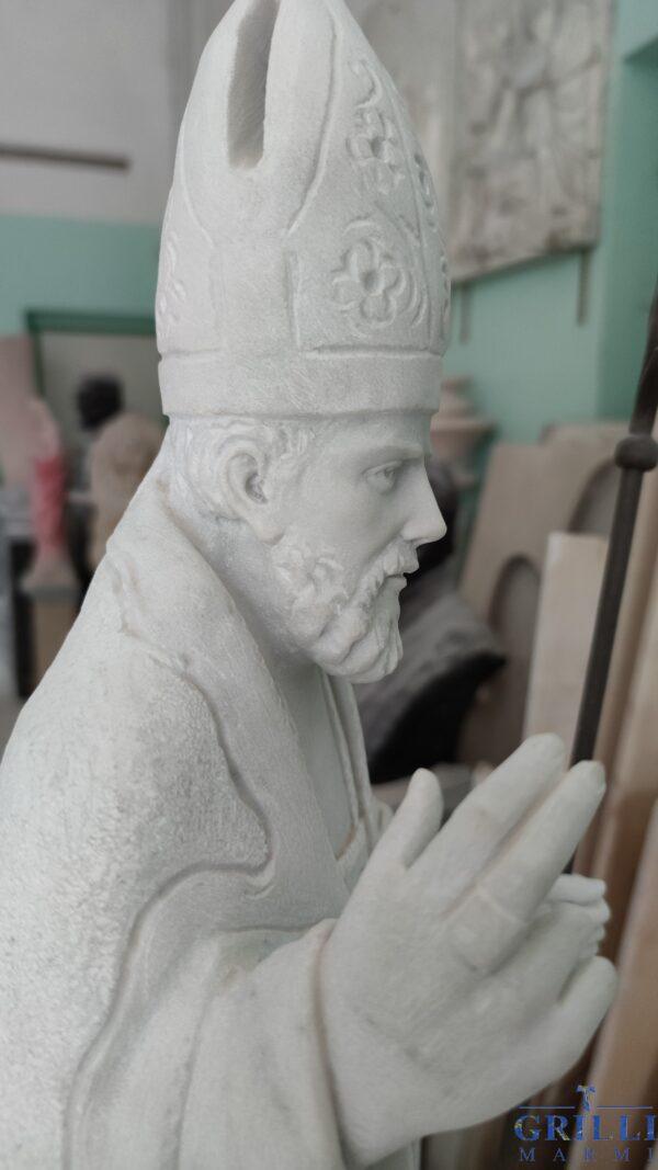 Statua di Sant'Ubaldo in marmo rifinita a mano