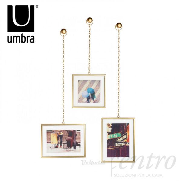 UMBRA FOTOCHAIN 3 CORNICI OTTONE PORTA FOTO DA PARETE MURO CON CATENELLA DESIGN - Volpotti Gubbio