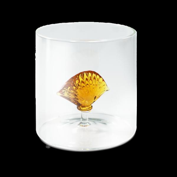 Bicchiere in vetro con soggetto in vetro soffiato : conchiglia - Casamica Gubbio