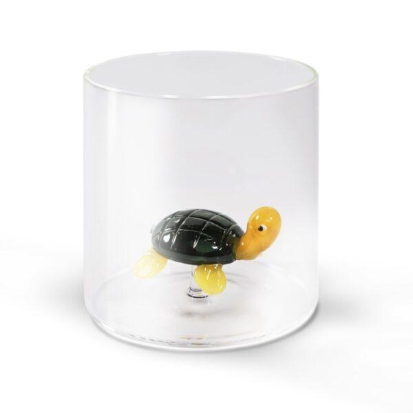 Bicchiere in vetro con soggetto in vetro soffiato : tartaruga- Casamica Gubbio