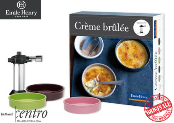 EMILE HENRY COFANETTO CREME BRULEE SET 6 STAMPI CON BRUCIATORE RICETTE 3 colori - Volpotti Gubbio