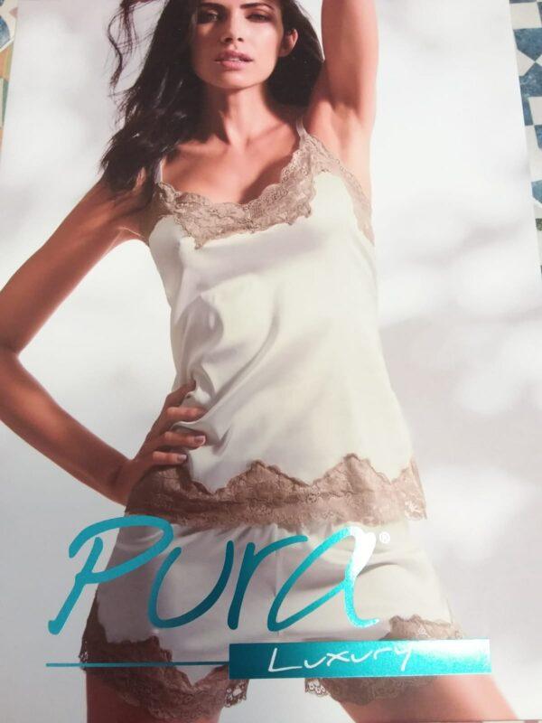 Parure top Pura con culotte in raso elasticizzato Black & White Gubbio